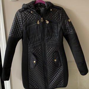 Michael Michael Kors Black partial quilted coat